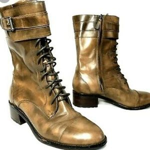 COLE HAAN NIKE AIR LACE UP BOOTS BRN 8.5